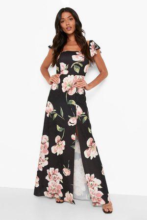 Boohoo Womens Floral Bardot Split Maxi Dress - - 4