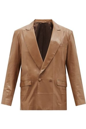 Gucci Double-breasted Leather Suit Jacket - Mens