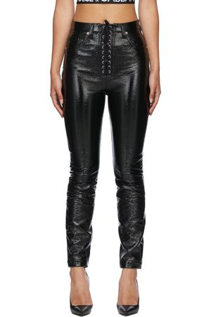 Dolce & Gabbana Women Pants - Black Coated Lace-Up Trousers