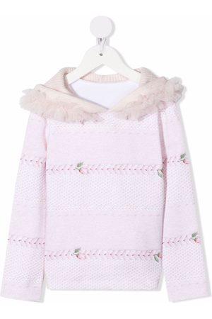 Lapin House Girls Hoodies - Floral-print tulle-trim hoodie