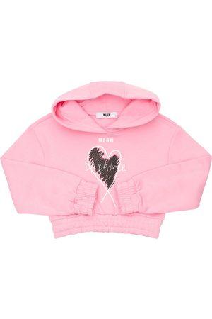 Msgm Printed Cotton Sweatshirt Hoodie