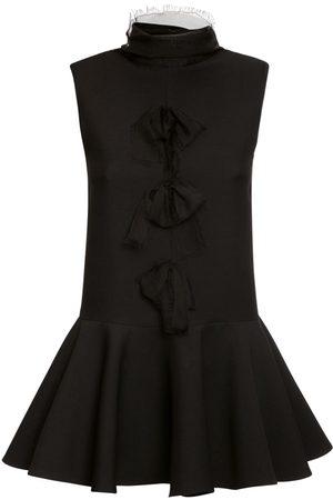 VALENTINO Women Dresses - Wool & Silk Crepe Dress W/ Bow Details