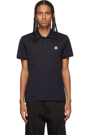 Moncler Men Polo Shirts - Navy Knit Polo