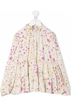 Il gufo Girls Blouses - Floral-print panelled blouse - Neutrals