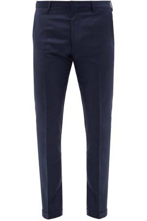 Paul Smith Men Skinny Pants - Slim-leg Wool-twill Suit Trousers - Mens - Dark Navy