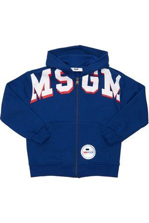 Msgm Logo Print Cotton Zip-up Sweatshirt