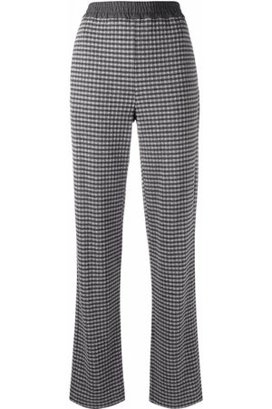 Emporio Armani Check-print straight trousers - Grey