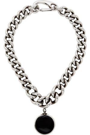 Alexander McQueen Men Necklaces - Silver & Black Oversized Chain Hook Necklace