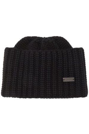 Saint Laurent Logo-plaque Ribbed-knit Cashmere Beanie Hat - Womens
