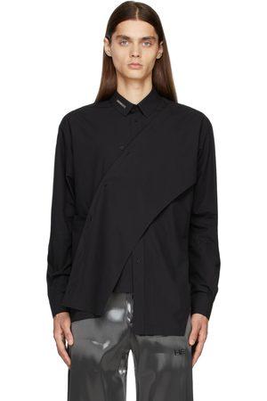 HELIOT EMIL Men Shirts - Black Asymmetric Deconstructed Shirt