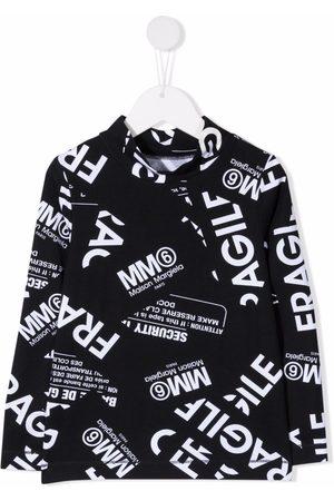 MM6 KIDS Fragile-print fleece top