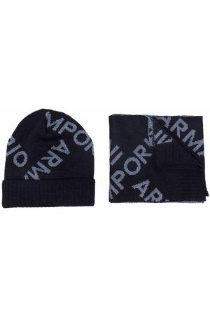 Emporio Armani Boys Hats - Logo-print knitted hat set