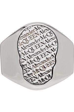 Alexander McQueen Men Rings - Silver Skull Tag Ring