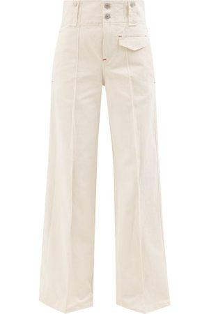 Isabel Marant Dilemony High-rise Cotton-twill Wide-leg Trousers - Womens - Ivory