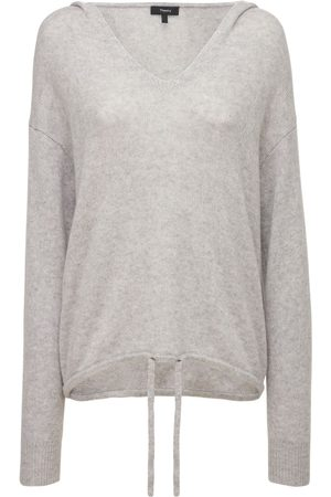 THEORY Women Sweaters - Relaxed Fit Cashmere Knit Hooded Sweater