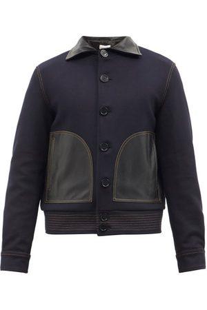 WALES BONNER Brixton Leather-trim Wool-blend Varsity Jacket - Mens - Navy