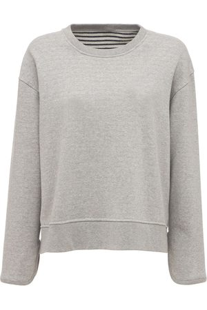 THEORY Striped Crewneck Cotton Sweatshirt