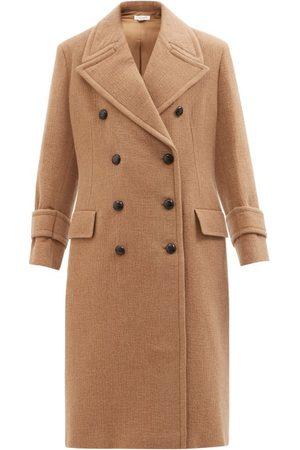 Victoria Beckham Women Coats - Double-breasted Wool-blend Coat - Womens - Camel