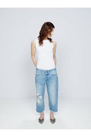 Raey Women Boyfriend Jeans - Dad Organic-cotton Ripped Boyfriend Jean - Womens - Denim