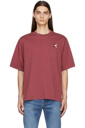 Kenzo Men T-shirts - Burgundy Loose-Fit K-Logo T-Shirt