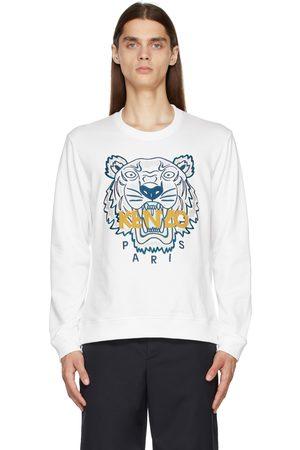 Kenzo Men Sweatshirts - White Embroidered Tiger Sweatshirt