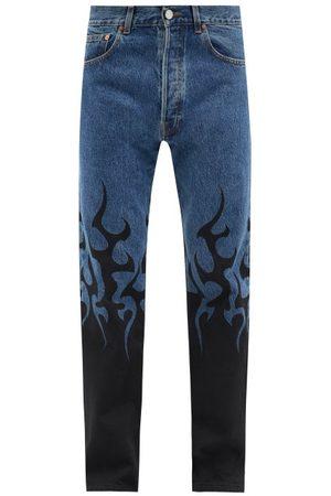 Vetements Men Straight - Flame-print Straight-leg Jeans - Mens