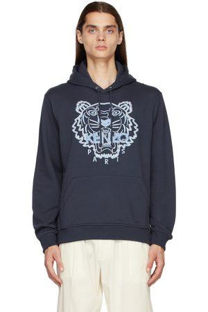 Kenzo Men Hoodies - Navy Embroidered Tiger Hoodie