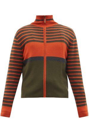 WALES BONNER Men Cardigans - George Zipped Striped Merino Wool-blend Cardigan - Mens - Multi