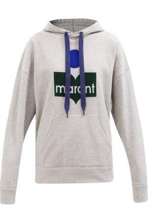 Isabel Marant Mansel Flocked-logo Cotton-blend Hooded Sweatshirt - Womens - Grey