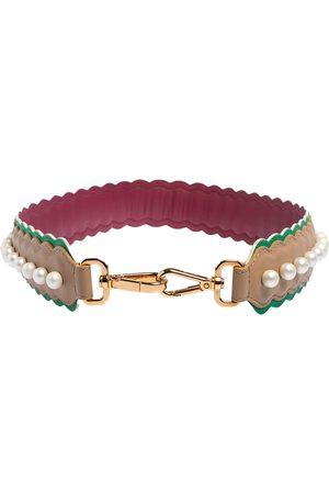 Fendi /Green Leather Faux Pearl Embellished Strap You Shoulder Bag Strap