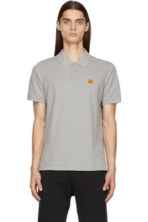 Kenzo Men Polo Shirts - Grey Tiger Crest Polo