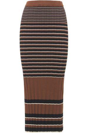 THEORY Women Midi Skirts - Striped Ribbed Cotton Midi Skirt
