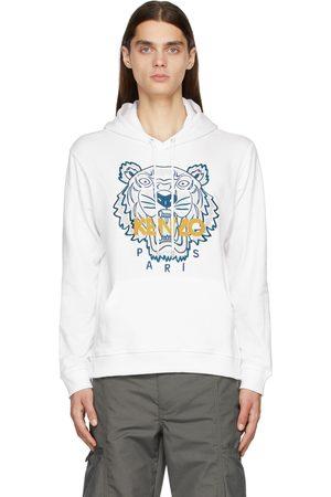 Kenzo Men Hoodies - White Embroidered Tiger Hoodie