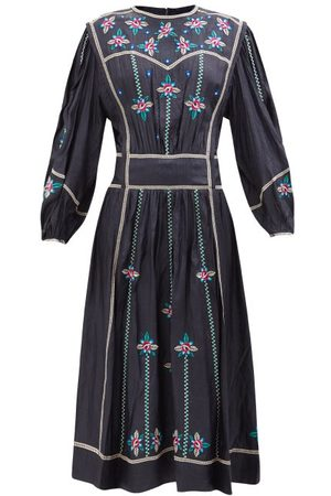 Isabel Marant Caroline Floral-embroidered Silk Midi Dress - Womens - Multi
