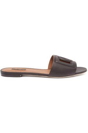 Dolce & Gabbana Dg Cutout Leather Slides - Womens