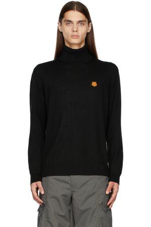 Kenzo Men Turtlenecks - Black Turtleneck Tiger Crest Sweater