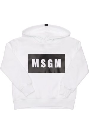 Msgm Logo Print Cotton Sweatshirt Hoodie