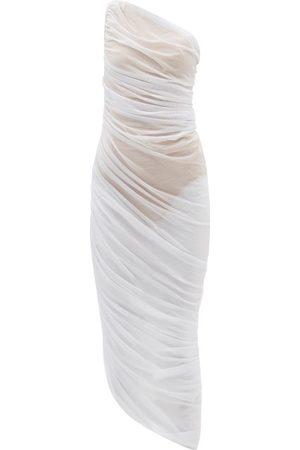 Norma Kamali Diana One-shoulder Gathered Jersey-mesh Dress - Womens