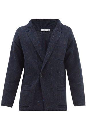 Inis Me in Men Cardigans - Patch Pocket Mélange Merino-blend Cardigan - Mens - Navy