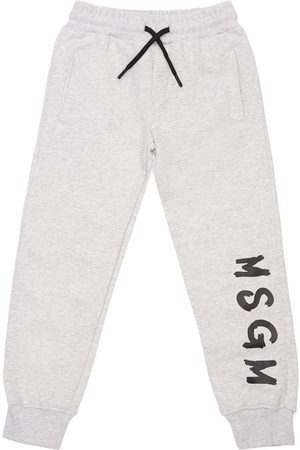 Msgm Logo Print Cotton Sweatpants