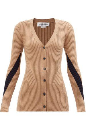 Victoria Beckham Women Cardigans - V-neck Ribbed Wool Cardigan - Womens - Camel