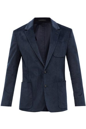 Paul Smith Men Blazers - Cotton-blend Corduroy Suit Jacket - Mens - Navy