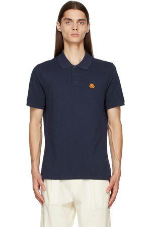 Kenzo Men Polo Shirts - Navy Tiger Crest Polo