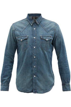 RRL Men Denim - Buffalo Embroidered Denim Shirt - Mens - Dark Indigo