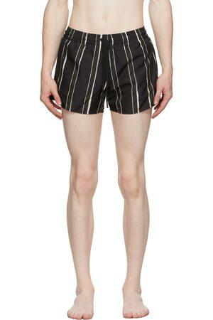 COMMAS Men Swim Shorts - Black & Green Stripe Short Length Swim Shorts
