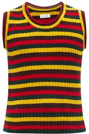 WALES BONNER Men Tank Tops - Brixton Striped Cotton-blend Sleeveless Sweater - Mens - Multi