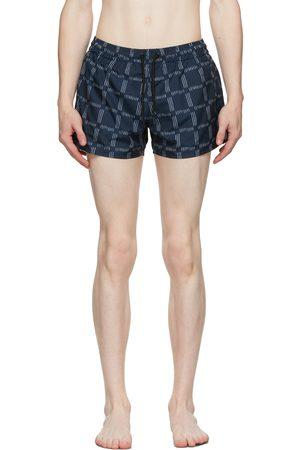COMMAS Men Swim Shorts - Blue Check Short Length Swim Shorts