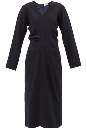 Raey Draped Raglan-sleeve Wrap Dress - Womens - Navy
