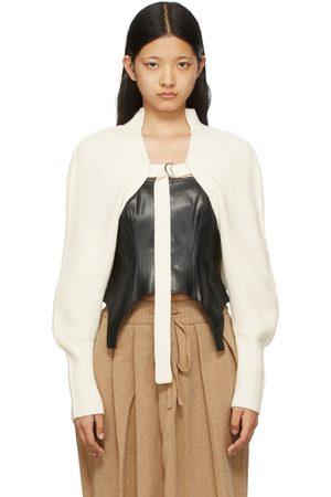 SJYP Women Cardigans - White Knit Arm Warmer Cardigan