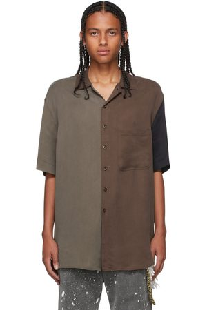 SONG FOR THE MUTE Men Short sleeves - Brown & Taupe Cupro Short Sleeve Shirt